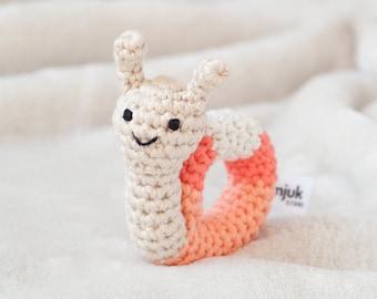 crochet animal rattle, baby toy, handmade snail 'PEACHY'