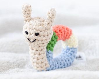 crochet rattle, baby toys , snail, crochet animal, handmade, lovely, organic, toy, handmade, baby, gift, newborn, organic wool