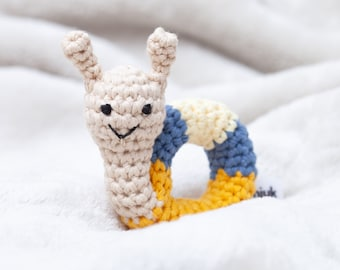 crochet animal rattle, baby toy, handmade snail 'ELLI'