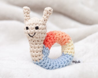 crochet animal rattle, baby toy, handmade snail 'ANNI'