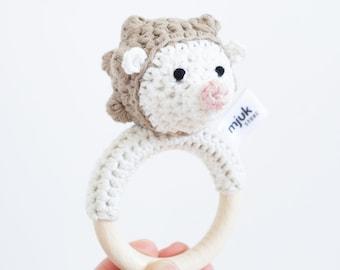 crochet rattle, crochet animal, hedgehog, baby rattle, crochet hedgehog, gift newborn, toy, handmade, baby, gift, newborn, organic wool