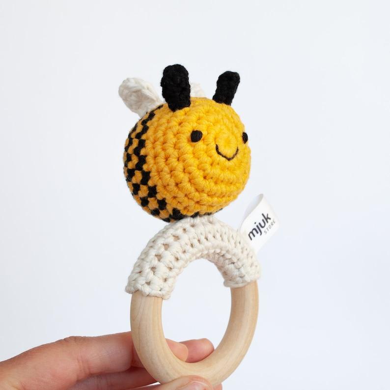 crochet rattle crochet animal crochet bee baby toy gift image 0