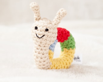 crochet animal rattle, baby toy, handmade snail 'CONNY'