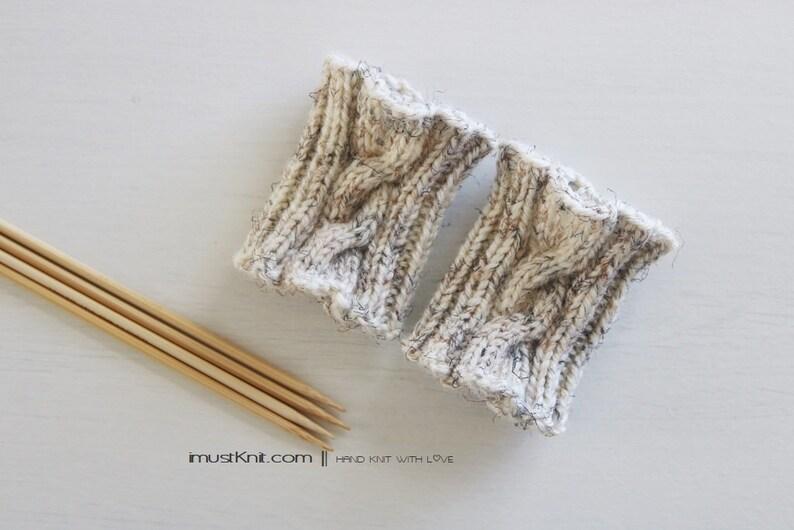hand knit wrist cuffs  knitted wheat wrist warmers  wrist image 1