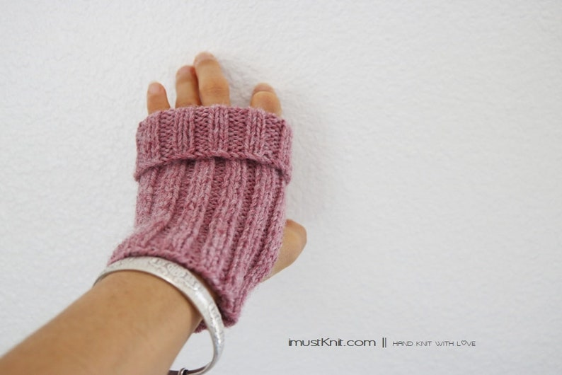 knitted fingerless gloves  2-way to wear fingerless mittens image 0