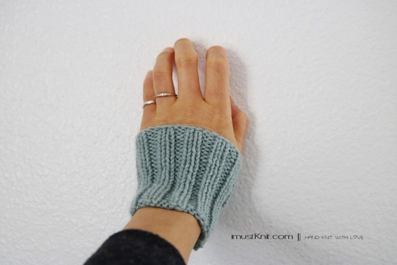 hand knit wrist cuffs  knitted dusty teal wrist warmers  image 0