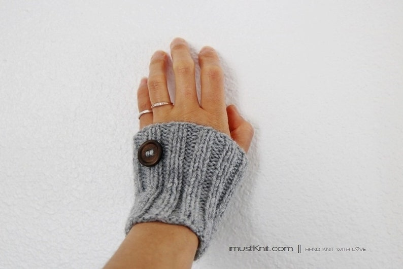 knitted grey wrist warmers with wooden buttons  hand knit image 0