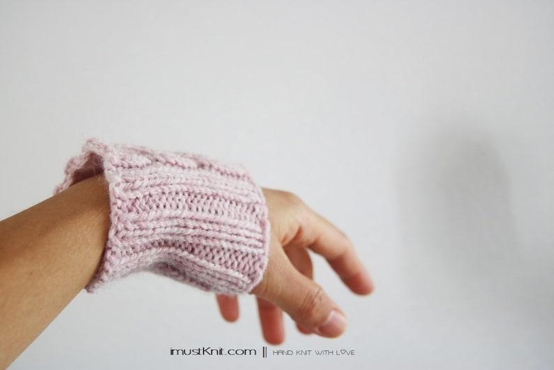 hand knit wrist cuffs  knitted blush wrist warmers  wrist image 1