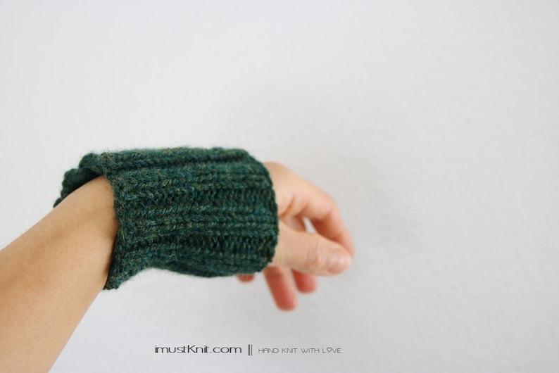 hand knit wrist cuffs  knitted gray wrist warmers  wrist image 0