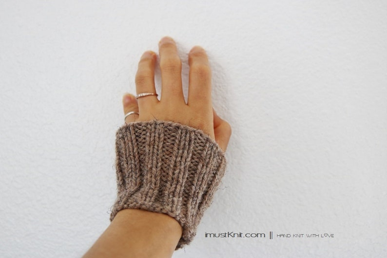 hand knit wrist cuffs   knitted brown wrist warmers  brown image 0