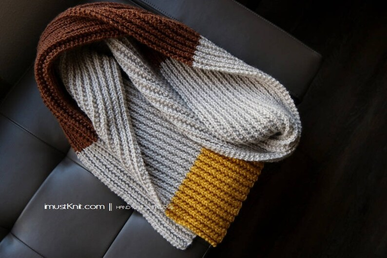 knit multi color blocked scarf  long ribbed scarf  knitted image 0