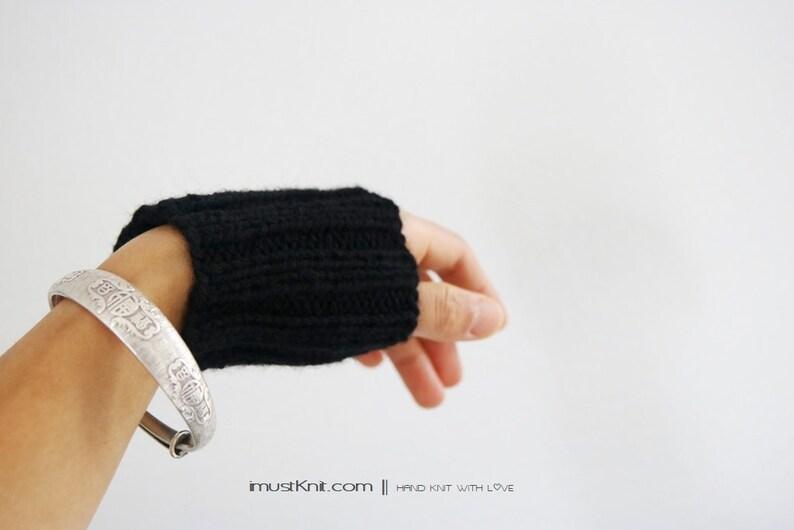 hand knit wrist cuffs   knitted black wrist warmers  wrist image 0