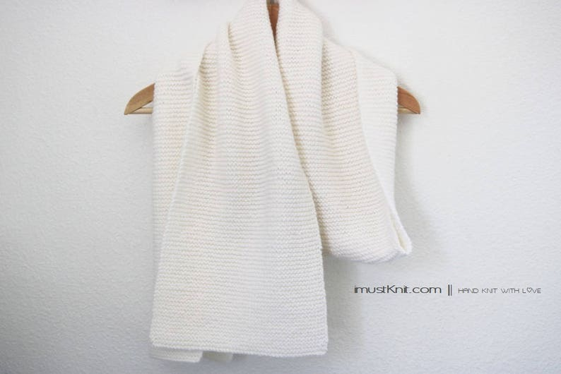 super soft hand knit scarf  knit garter scarf  knit white image 0