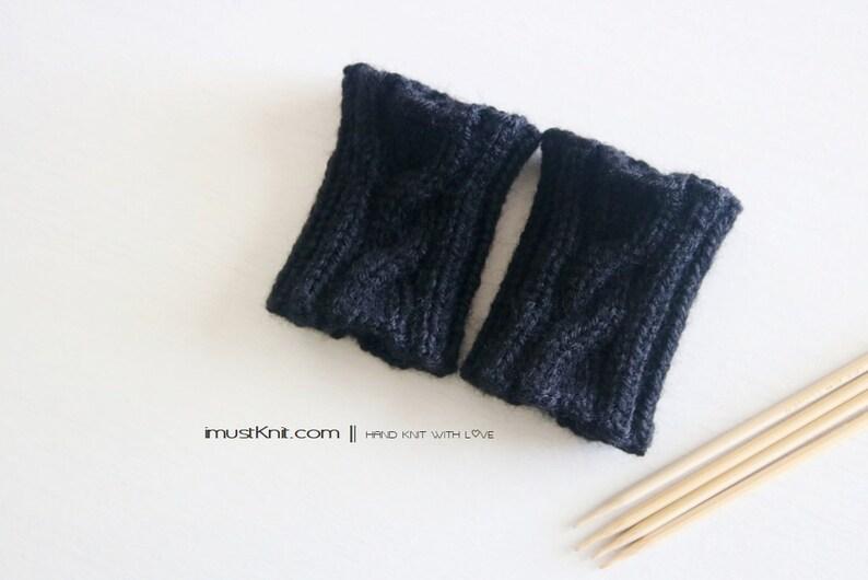 hand knit wrist cuffs  knitted black wrist warmers  wrist image 1