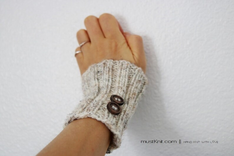 knitted wheat wrist warmers with wooden buttons  hand knit image 0