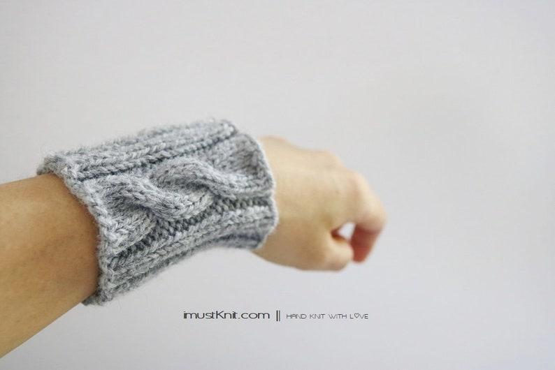 hand knit wrist cuffs  knitted grey wrist warmers  wrist image 0