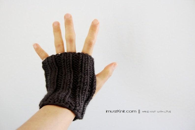 hand knit fingerless gloves  chunky raven fingerless mittens image 0