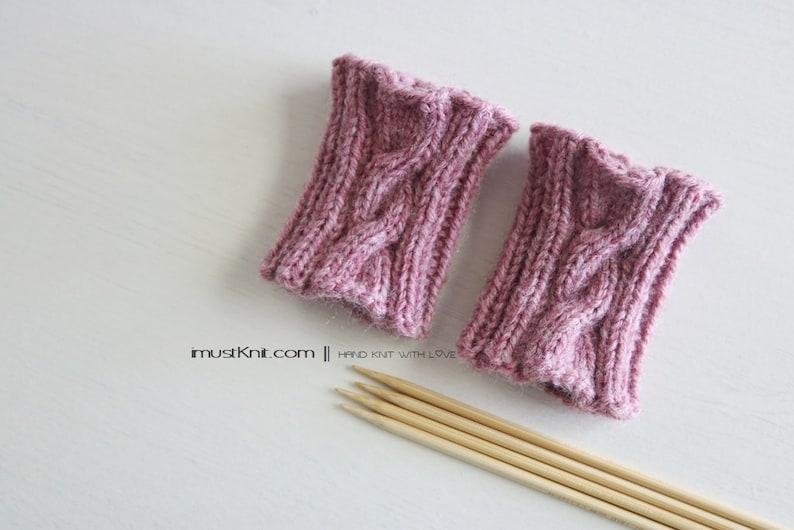 hand knit wrist cuffs  knitted rose wrist warmers  wrist image 0