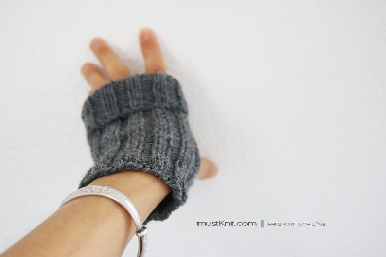 hand knit fingerless gloves  2-way to wear fingerless image 0