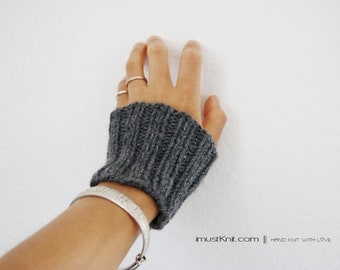 hand knit wrist cuffs || knitted gray wrist warmers || wrist bands || ribbed cuffs || gift for her -storm heather
