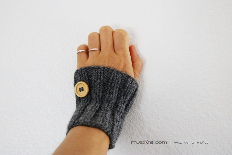 knitted gray wrist warmers with wooden buttons  hand knit image 0