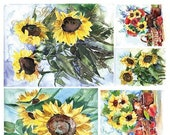 ITD Collection Sunflower Rice Paper - Flower Rice Paper - Sunflower Painting Rice Paper - ITD R1225 - Decoupage Rice Paper - 31-024