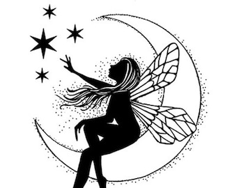 Lavinia Moon Fairy Stamp - Fairy Stamp - Clear Cling Stamp - Fairy Cling Stamp - Fairy Silhouette Stamp - Moon Fairy Stamp - 12-024