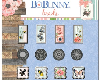 Bo Bunny Butterfly Kisses Brads - Butterfly Kisses Brads - Decorative Brads - Scrapbooking Brads - Embellishments - Paper Crafting - 4-004