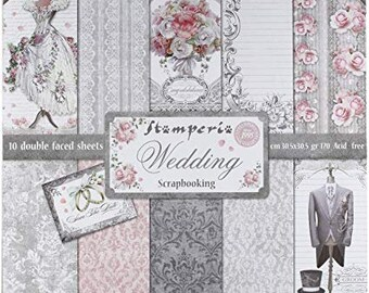 Paper House EAT DRINK /& BE MARRIED 12x12 Scrapbooking 2 PCS Paper WEDDING CAKE