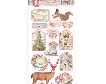 NEW Pink Christmas Chipboard - Stamperia - Christmas Chipboard - Pink Christmas Collection - Adhesive Christmas Chipboard - 23-915
