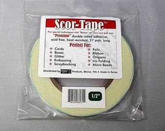 """Scor-Tape 1/2"""" - Double Sided Adhesive - Scor Tape - Acid Free Double Sided Tape - Double Sided Scor Tape - Paper Backed Tape - 18-004"""