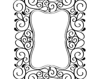 Scroll Frame Embossing Folder - Card Embossing - Frame Embossing Folder - Frame Embossing - Scroll Frame Emboss Folder - 7-023