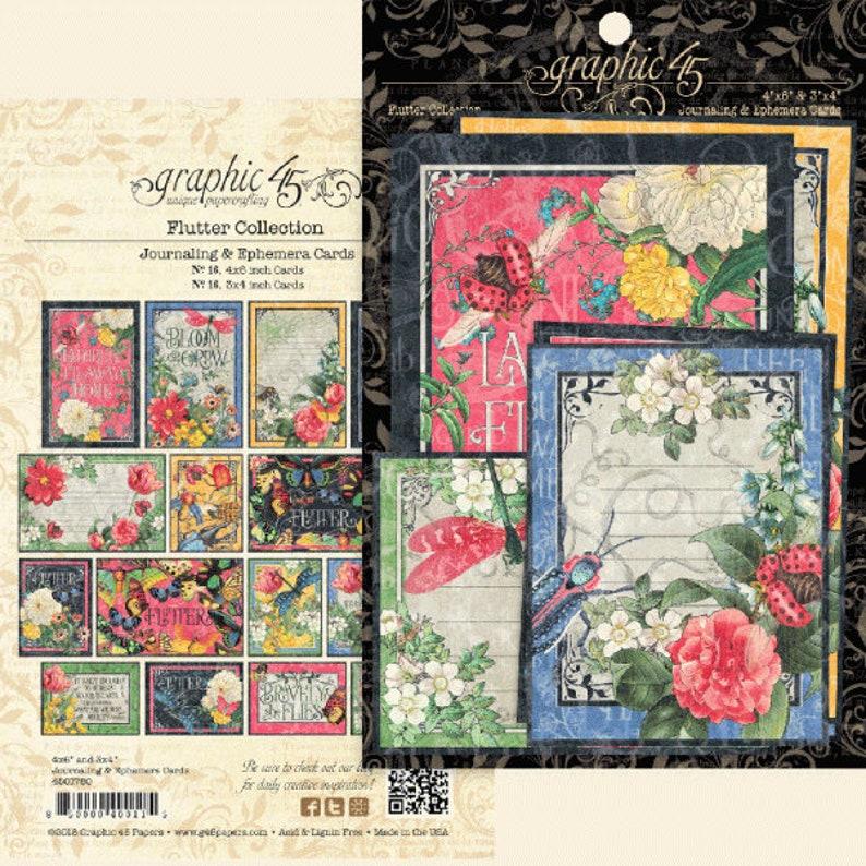Graphic 45 Journaling /& Ephemera Cards FLORAL SHOPPE