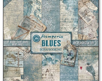 Stamperia Blues Paper Pack - Double Sided Paper - 12x12 Paper - 12 x 12 - Blue paper - Card Stock Paper - Stamperia Blues Paper - 23-040