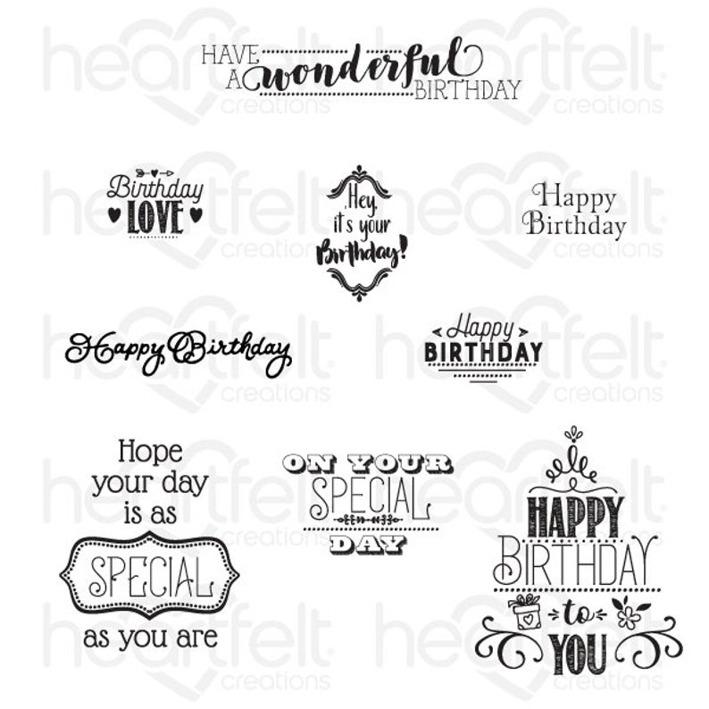 9-376 Heartfelt Creations Special Birthday Sentiments Cling Stamp Set Birthday Sentiment Stamps Occasion Stamps Sentiment Stamp Set