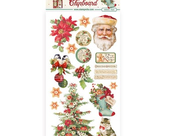 NEW Classic Christmas Chipboard - Stamperia - Christmas Chipboard - Classic Christmas Collection - Adhesive Christmas Chipboard - 23-914