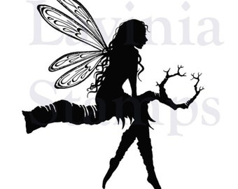 Lavinia Tree Goddess Luna Stamp - Sitting Fairy Stamp - Clear Cling Stamp - Fairy Cling Stamp - Luna Stamp - Fairy Silhouette Stamp - 12-004