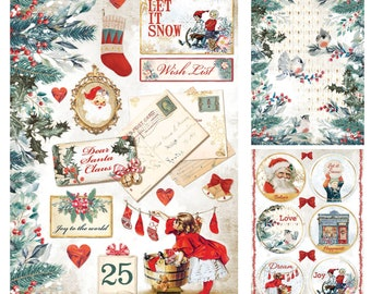 NEW Romantic Christmas A4 Rice Paper - Rice Paper - Romantic Christmas Rice Paper - Christmas Rice Paper - Romantic Christmas Collection