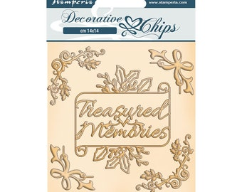 NEW Memories Decorative Chips - Romantic Christmas Collection - Laser Cut Chips - 1 mm Laser Cut Shapes - Decorative Chips - 23-919
