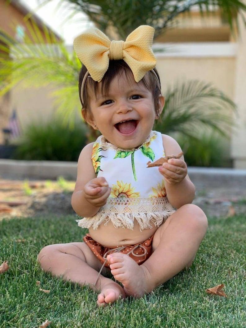 fabric stretch head wrap newborn bow baby bow headwrap big bow toddler bow Canary yellow bow