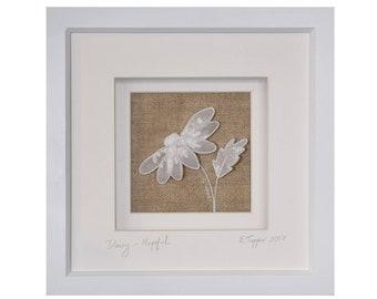 Antique Linen Stumpwork Daisy: 'Hopeful' - Hand Embroidered Art