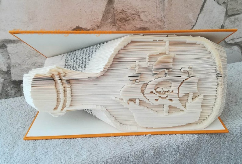 pirate ship in a bottle 2018  book folding pattern  hobby novelty gift only 375 pages skull cross bones bookart origami book fold gift pdf