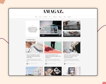 "Magazine WordPress Theme - Modern WordPress Website - WordPress Template - Amagaz ""Digital Download"" - Free Installation"