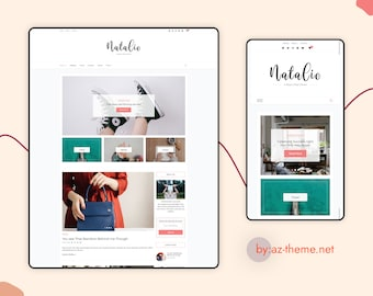 "Personal Blog WordPress Theme  -  WordPress WooCommerce Theme - Free Installation and Setup - Digital Download ""Natalie"""