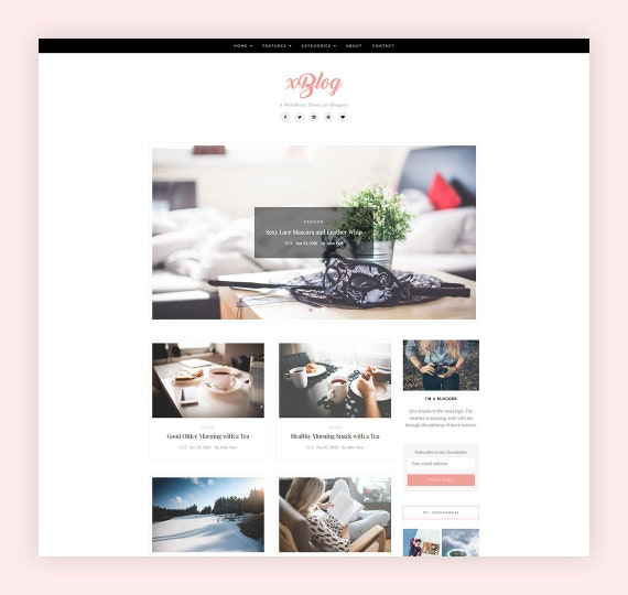 Xblog Simple Wordpress Blog Theme Grid Wordpress Template Etsy