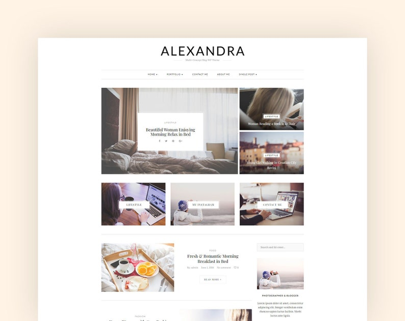 Minimal and Modern WordPress Blog Theme Alexandra a Responsive Wordpress Theme One Click Demo Import