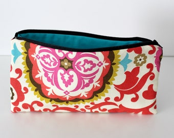 Red Brocade/Aqua Zipper Bag