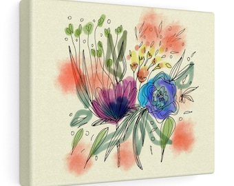 Watercolor Bouquet Print On Canvas