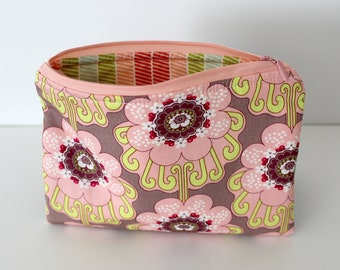 Light Pink Flowers/Pastel Stripes Zipper Bag