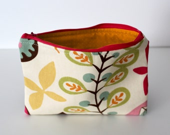 Mid-Century Floral/Orange Dots Zipper Bag